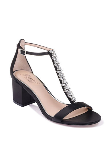 Jewel Badgley Mischka Metallic Block Heel Sandals-BLACK SATIN-6.5