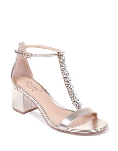 Jewel Badgley Mischka Metallic Block Heel Sandals-GOLD METALLIC-7