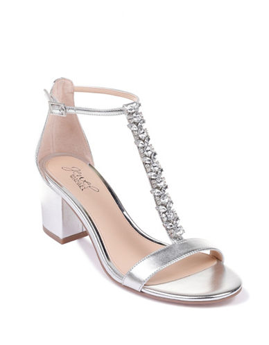 Jewel Badgley Mischka Metallic Block Heel Sandals-SILVER METALLIC-9