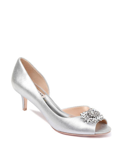 Badgley Mischka Macie Satin Peep-Toe Pumps-SILVER-6.5