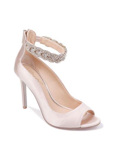 Jewel Badgley Mischka Alanis Rhinestone Peep Toe Heels-CHAMPAGNE SATIN-6.5