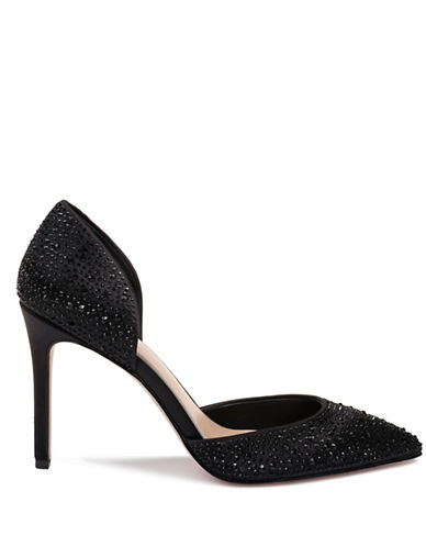 Jewel Badgley Mischka Alexandra Satin Pumps-BLACK SATIN-6.5