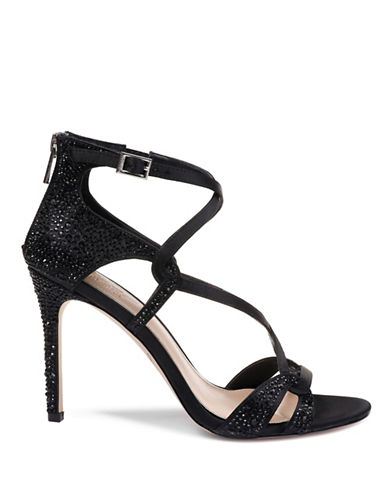 Jewel Badgley Mischka Aliza II Satin Crisscross Strap Heels-BLACK SATIN-5.5
