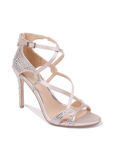 Jewel Badgley Mischka Aliza II Satin Crisscross Strap Heels-CHAMPAGNE SATIN-7.5