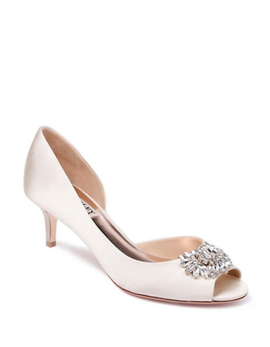 Badgley Mischka Macie Satin Peep-Toe Pumps-IVORY SATIN-7.5