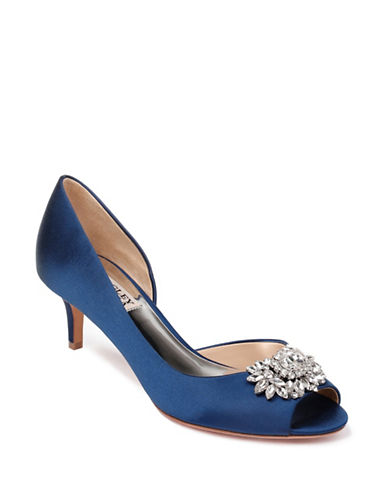 Badgley Mischka Macie Satin Peep-Toe Pumps-NAVY SATIN-6.5