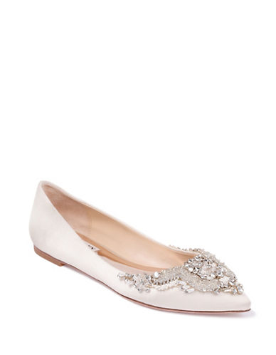 Badgley Mischka Malena Satin Embellished Flats-IVORY SATIN-8.5