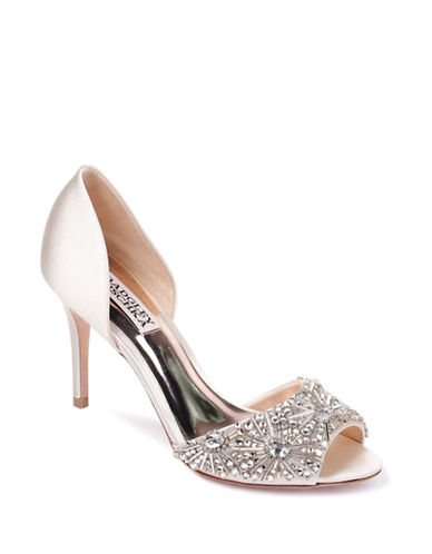 Badgley Mischka Maria Satin Peep-Toe Heels-IVORY SATIN-9