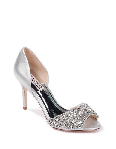 Badgley Mischka Maria Satin Peep-Toe Heels-SILVER-5.5