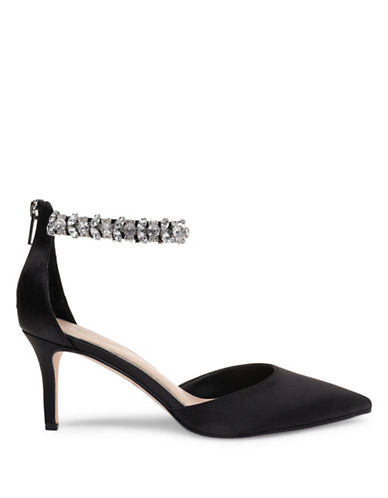 Jewel Badgley Mischka Audrey Embellished Pumps-BLACK SATIN-5.5