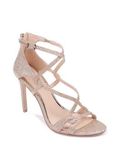 Jewel Badgley Mischka Aliza II Glitter Crisscross Strap Heels-GOLD GLITTER-6.5