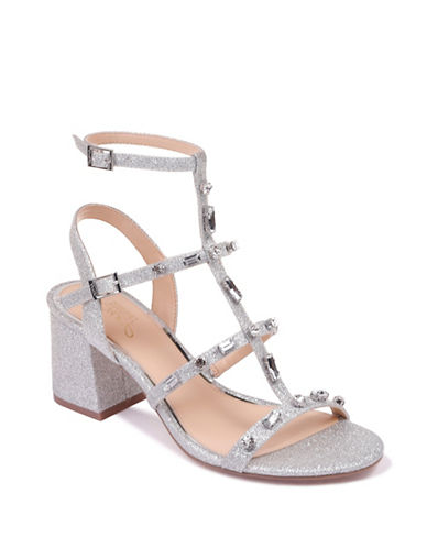 Jewel Badgley Mischka Anna Glitter Gladiator Sandals-SILVER GLITTER-8.5