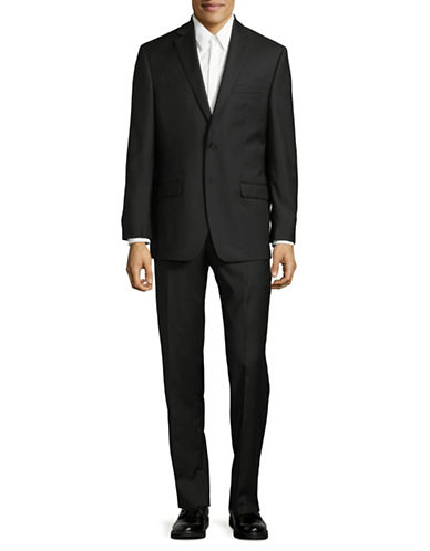 Calvin Klein Regular Fit Wool Suit-BLACK-40 Short
