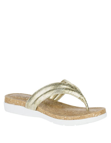 Hush Puppies Lizzy Textured Sandals-LIGHT GOLD-6