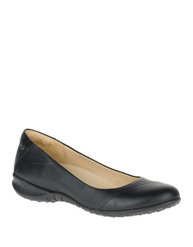 Hush Puppies Linnet Bria Leather Ballet Flats-BLACK-9.5