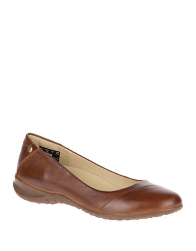 Hush Puppies Linnet Bria Leather Ballet Flats-BROWN-5