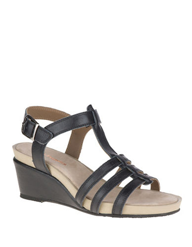 Hush Puppies Enora Cassale Leather Wedge Sandals-BLACK-9