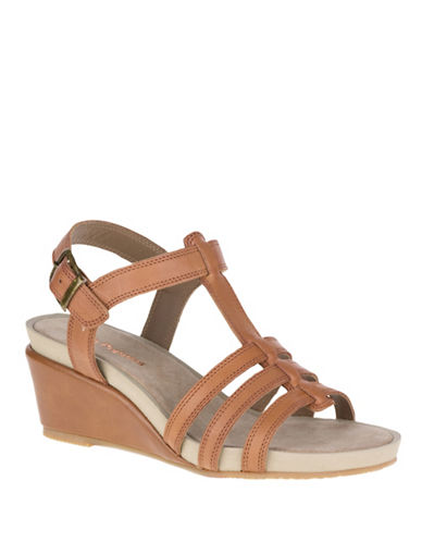 Hush Puppies Enora Cassale Leather Wedge Sandals-TAN-10