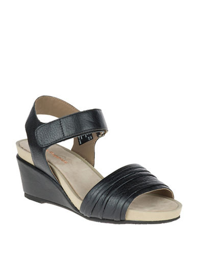 Hush Puppies Eivee Cassale Leather Wedge Sandals-BLACK-10