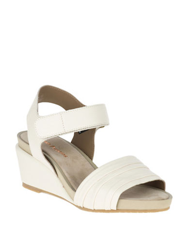 Hush Puppies Eivee Cassale Leather Wedge Sandals-BIRCH-10