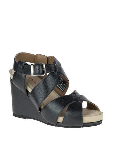 Hush Puppies Fintan Montie Leather Wedge Sandals-BLACK-7.5