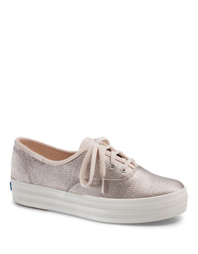Keds Womens Triple Lace-Up Sneakers-BEIGE-8