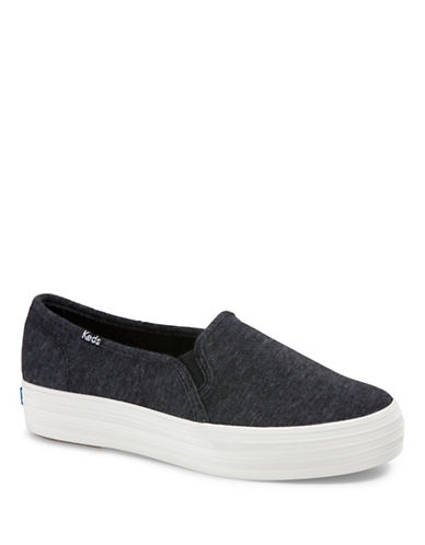 Keds Triple Decker Sweatshirt Jersey Sneakers-BLACK-7