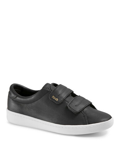 Keds Womens Ace V Leather Low Top Sneakers-BLACK-6
