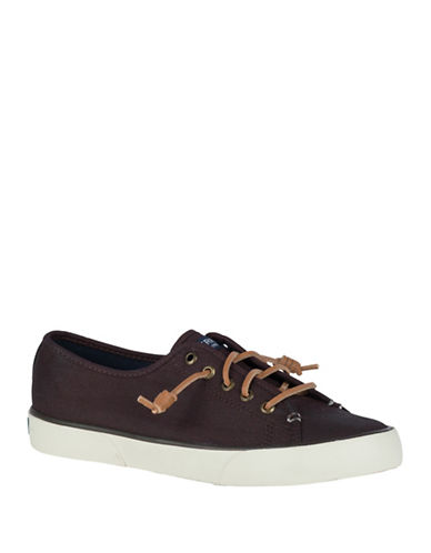 Sperry Pier View Burnishable Canvas Slip-On Sneakers-DARK BROWN-7.5