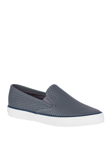 Sperry Pier Side Seasonal Canvas Slip-On Sneakers-GREY-7.5