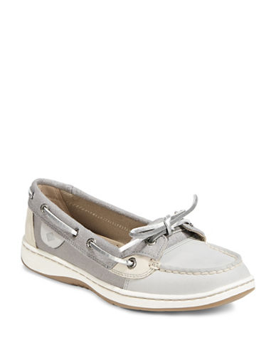 Sperry Ladies Metallic Leather Boat Shoes-GREY-7.5