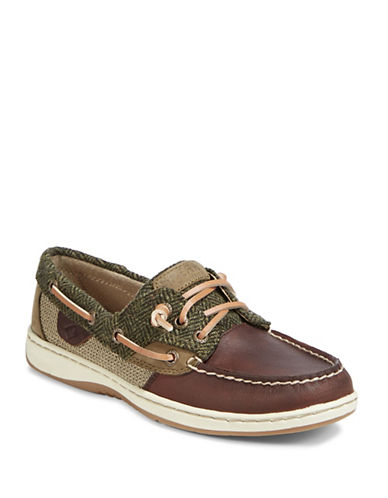 Sperry Ladies Multi-Print Leather Boat Shoes-GREEN-9.5