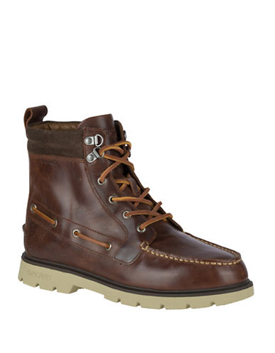 Sperry Waterproof Lug Ankle Boots-BROWN-8