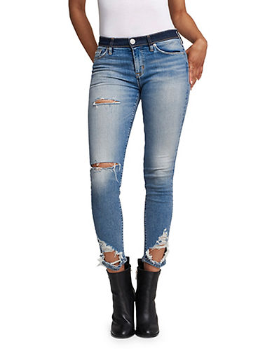 Hudson Jeans Nico Midrise Distressed Skinny Jeans-BLUE-28