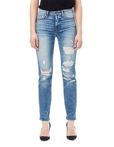 Hudson Jeans Zoeey High Rise Straight Leg Cropped Jeans-BLUE-32
