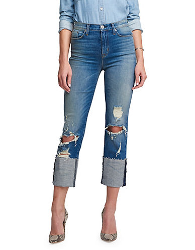 Hudson Jeans Zoeey High Rise Cropped Cuff Jeans-LIGHT BLUE-27