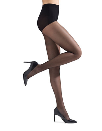 Natori Soft Suede Sheer Control Top Pantyhose-BLACK-Medium