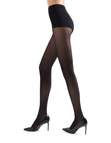 Natori Soft Suede Opaque Control Top Pantyhose-BLACK-Small/Medium