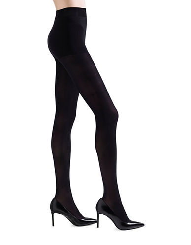 Natori Velvet Touch Opaque Control Top Pantyhose-BLACK-Medium/Large