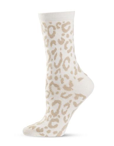 Natori Womens Animal Print Crew Socks-WHITE-One Size