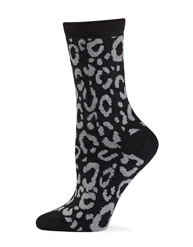 Natori Womens Animal Print Crew Socks-BLACK-One Size