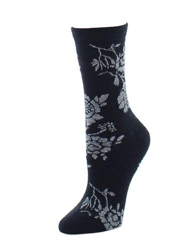 Natori Womens Monotone Crew Socks-BLACK-One Size