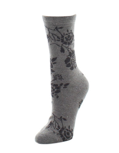 Natori Womens Monotone Crew Socks-GREY-One Size