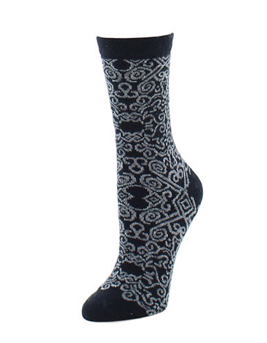 Natori Womens Gobi Crew Socks-BLACK-9-11