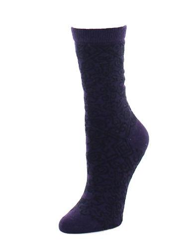 Natori Womens Gobi Crew Socks-PURPLE-9-11
