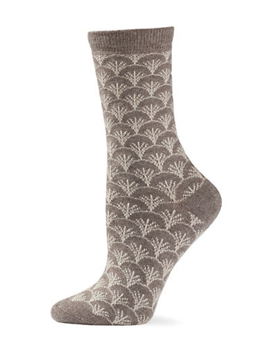 Natori Womens Fretwork Crew Socks-BROWN-One Size