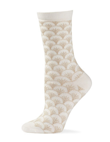 Natori Womens Fretwork Crew Socks-WHITE-One Size
