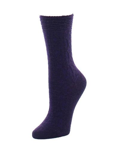 Natori Womens Textured Crew Socks-PURPLE-9-11