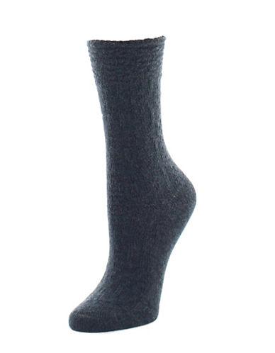 Natori Womens Textured Crew Socks-GREY-9-11
