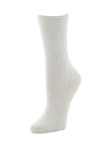 Natori Womens Textured Crew Socks-BEIGE-9-11